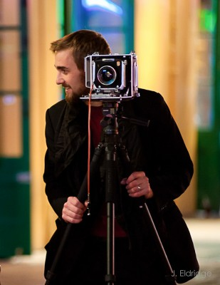 Gavin working with a 4x5 view camera in New Orleans. 2012.